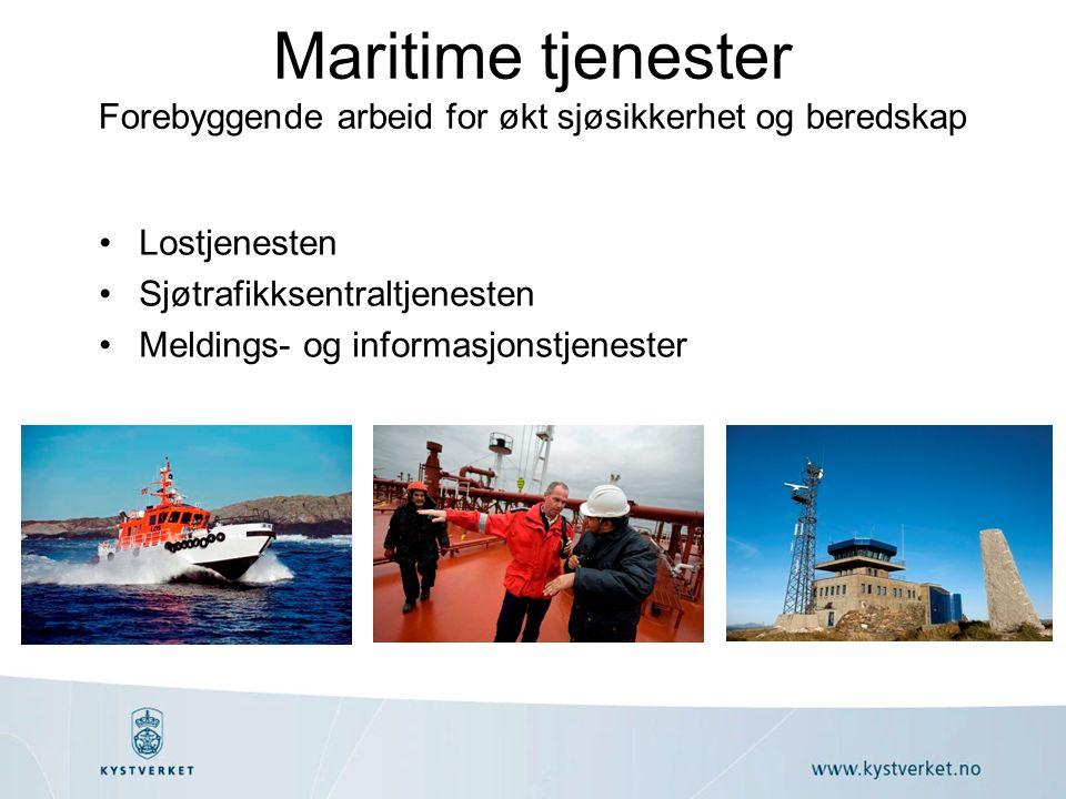 Maritime tjenester Forebyggende arbeid for økt sjøsikkerhet og beredskap Lostjenesten Sjøtrafikksentraltjenesten Meldings- og informasjonstjenester