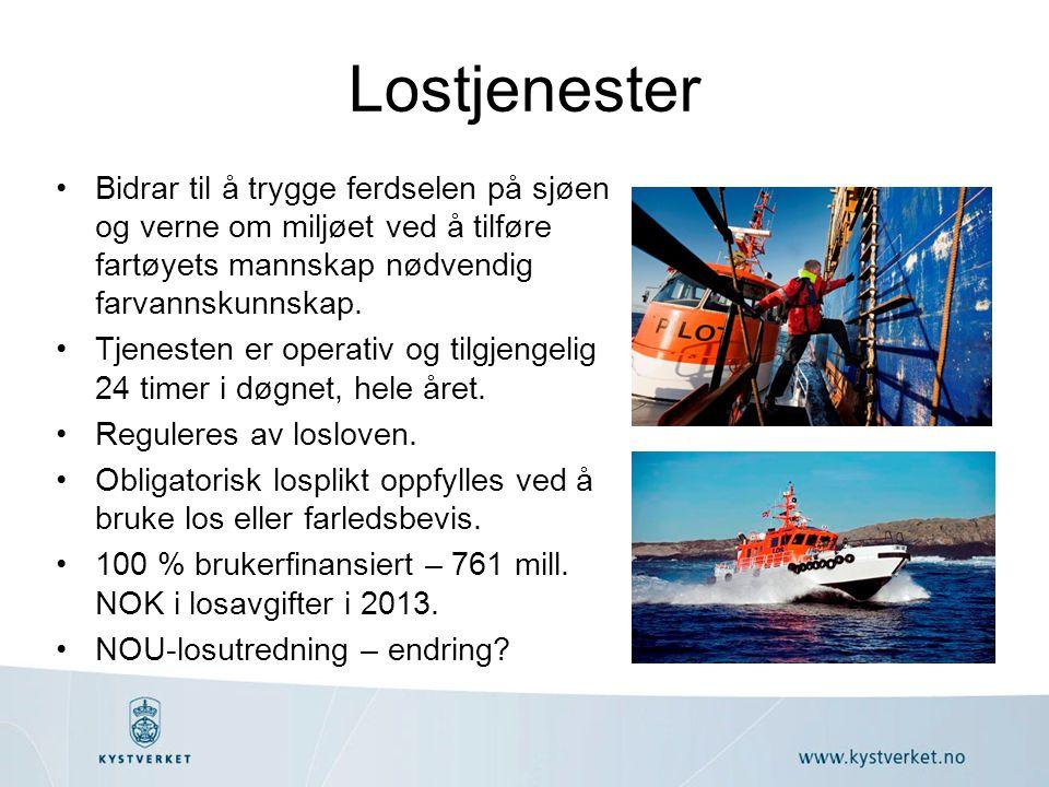 Lostjenester Bidrar til å trygge ferdselen på sjøen og verne om miljøet ved å tilføre fartøyets mannskap nødvendig farvannskunnskap. Tjenesten er oper