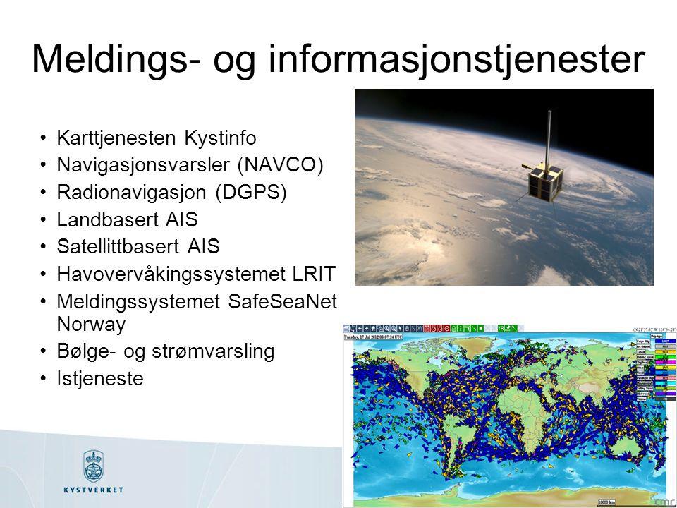 Meldings- og informasjonstjenester Karttjenesten Kystinfo Navigasjonsvarsler (NAVCO) Radionavigasjon (DGPS) Landbasert AIS Satellittbasert AIS Havovervåkingssystemet LRIT Meldingssystemet SafeSeaNet Norway Bølge- og strømvarsling Istjeneste