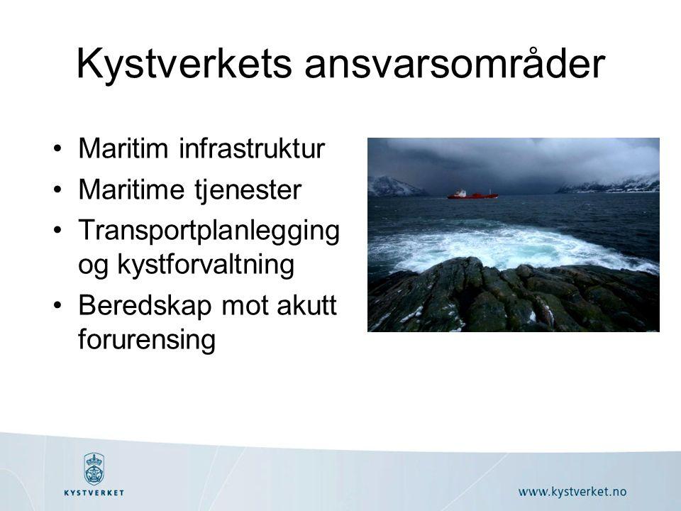 Kystverkets ansvarsområder Maritim infrastruktur Maritime tjenester Transportplanlegging og kystforvaltning Beredskap mot akutt forurensing