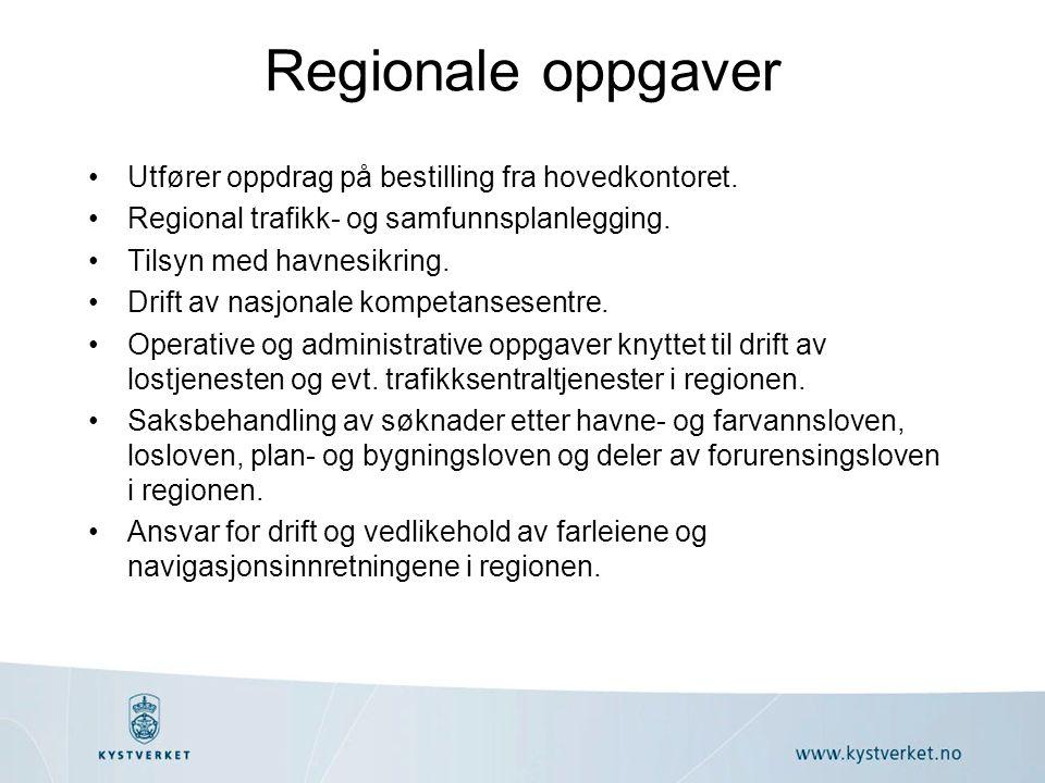 Utfører oppdrag på bestilling fra hovedkontoret. Regional trafikk- og samfunnsplanlegging. Tilsyn med havnesikring. Drift av nasjonale kompetansesentr