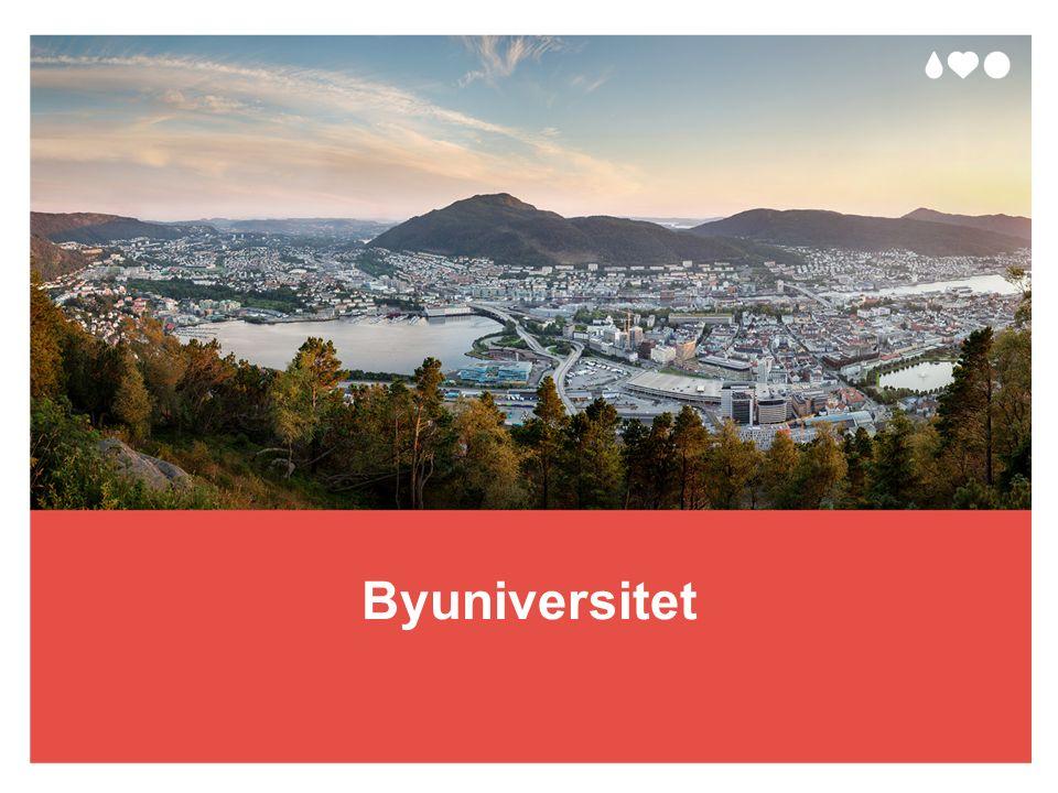 Strategiske mål 2016–2022 UiB skal utvikle flere ledende forskningsmiljøer UiB skal utdanne Norges mest attraktive kandidater UiB skal være en ettertraktet kompetanseinstitusjon UiB skal bidra i det offentlige ordskiftet og til den kunnskapsbaserte samfunnsutviklingen UNIVERSITETET I BERGEN