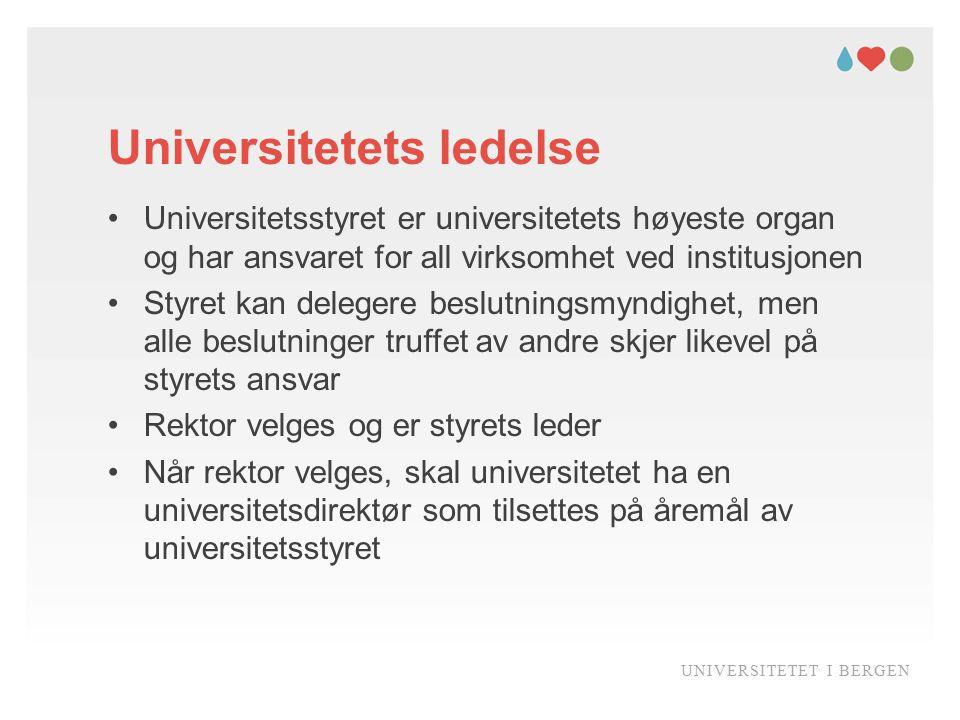 Universitetets ledelse Universitetsstyret er universitetets høyeste organ og har ansvaret for all virksomhet ved institusjonen Styret kan delegere bes