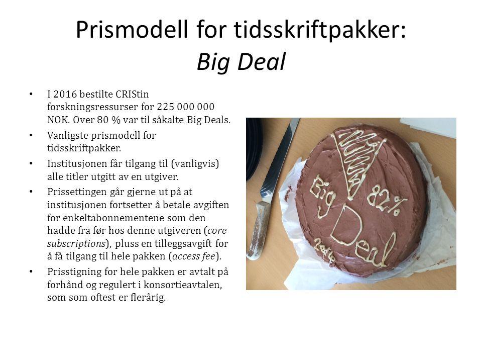 Prismodell for tidsskriftpakker: Big Deal I 2016 bestilte CRIStin forskningsressurser for 225 000 000 NOK.