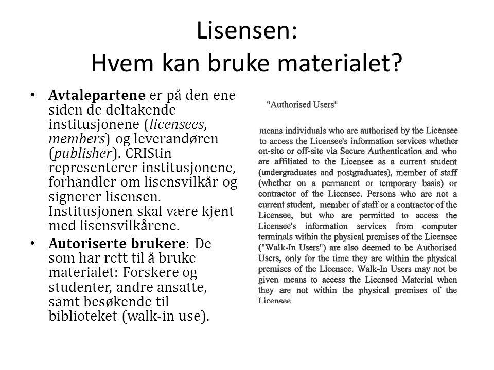 Lisensen: Hvem kan bruke materialet.