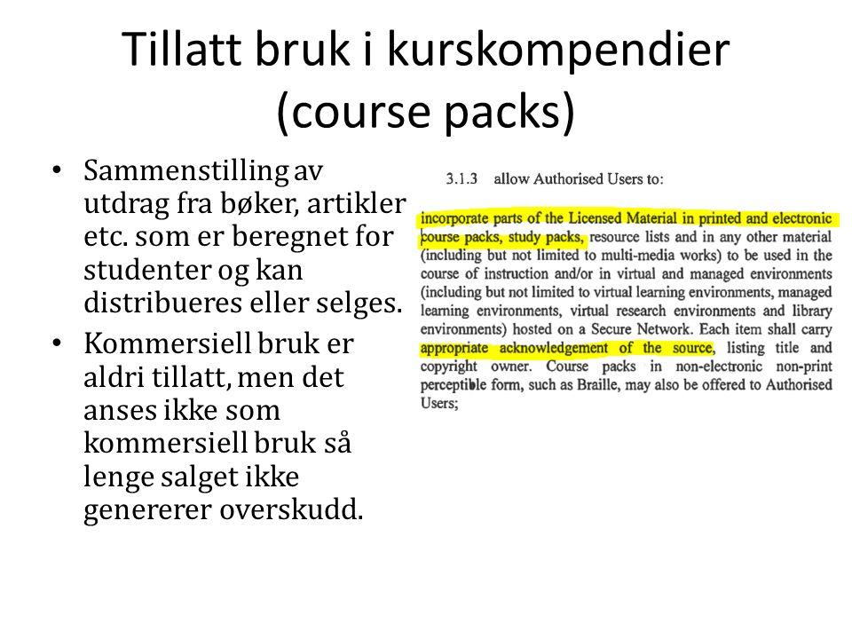 Tillatt bruk i kurskompendier (course packs) Sammenstilling av utdrag fra bøker, artikler etc.