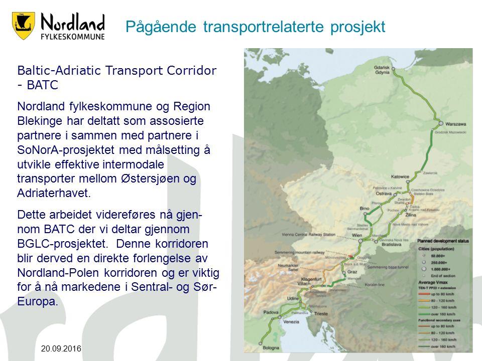 Pågående transportrelaterte prosjekt 20.09.201612 2 Baltic-Adriatic Transport Corridor - BATC Nordland fylkeskommune og Region Blekinge har deltatt som assosierte partnere i sammen med partnere i SoNorA-prosjektet med målsetting å utvikle effektive intermodale transporter mellom Østersjøen og Adriaterhavet.