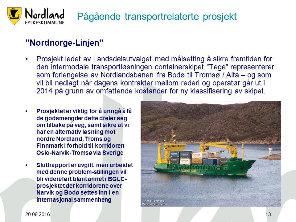 Pågående transportrelaterte prosjekt Nordnorge-Linjen Prosjekt ledet av Landsdelsutvalget med målsetting å sikre fremtiden for den intermodale transportløsningen containerskipet Tege representerer som forlengelse av Nordlandsbanen fra Bodø til Tromsø / Alta – og som vil bli nedlagt når dagens kontrakter mellom rederi og operatør går ut i 2014 på grunn av omfattende kostander for ny klassifisering av skipet.