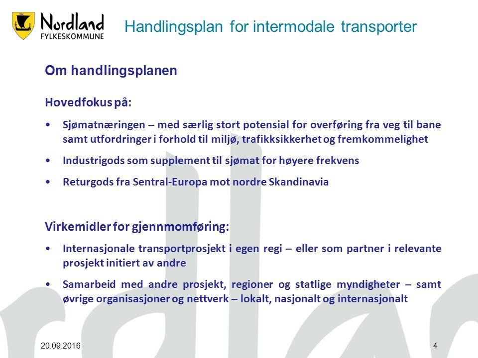 Handlingsplan for intermodale transporter Om handlingsplanen Hovedfokus på: Sjømatnæringen – med særlig stort potensial for overføring fra veg til bane samt utfordringer i forhold til miljø, trafikksikkerhet og fremkommelighet Industrigods som supplement til sjømat for høyere frekvens Returgods fra Sentral-Europa mot nordre Skandinavia Virkemidler for gjennmomføring: Internasjonale transportprosjekt i egen regi – eller som partner i relevante prosjekt initiert av andre Samarbeid med andre prosjekt, regioner og statlige myndigheter – samt øvrige organisasjoner og nettverk – lokalt, nasjonalt og internasjonalt 20.09.20164