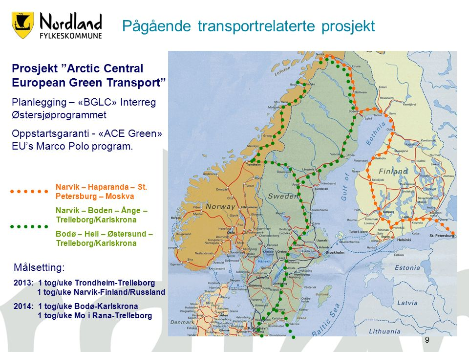 9 Prosjekt Arctic Central European Green Transport Planlegging – «BGLC» Interreg Østersjøprogrammet Oppstartsgaranti - «ACE Green» EU's Marco Polo program.