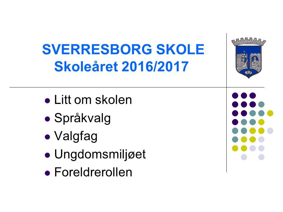 SVERRESBORG SKOLE Skoleåret 2016/2017 Litt om skolen Språkvalg Valgfag Ungdomsmiljøet Foreldrerollen