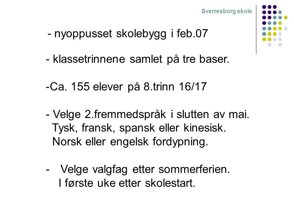 Sverresborg skole - nyoppusset skolebygg i feb.07 - klassetrinnene samlet på tre baser. -Ca. 155 elever på 8.trinn 16/17 - Velge 2.fremmedspråk i slut