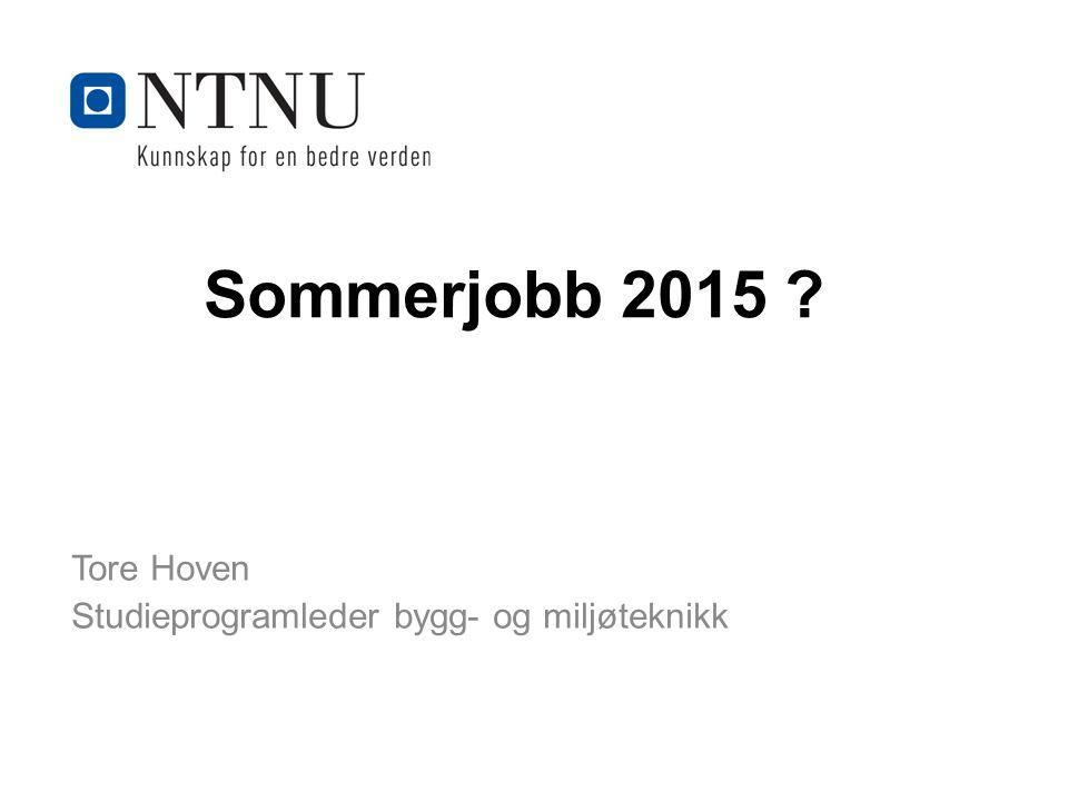 Kunnskap for en bedre verden Sommerjobb 2015 Tore Hoven Studieprogramleder bygg- og miljøteknikk