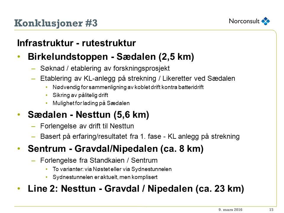 Konklusjoner #3 Infrastruktur - rutestruktur Birkelundstoppen - Sædalen (2,5 km) –Søknad / etablering av forskningsprosjekt –Etablering av KL-anlegg på strekning / Likeretter ved Sædalen Nødvendig for sammenligning av koblet drift kontra batteridrift Sikring av pålitelig drift Mulighet for lading på Sædalen Sædalen - Nesttun (5,6 km) –Forlengelse av drift til Nesttun –Basert på erfaring/resultatet fra 1.
