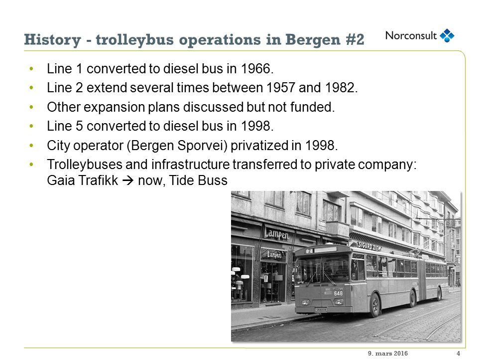History - trolleybus operations in Bergen #2 Line 1 converted to diesel bus in 1966.