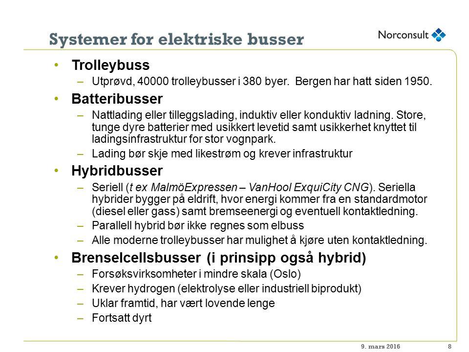 Systemer for elektriske busser 8 Trolleybuss –Utprøvd, 40000 trolleybusser i 380 byer.