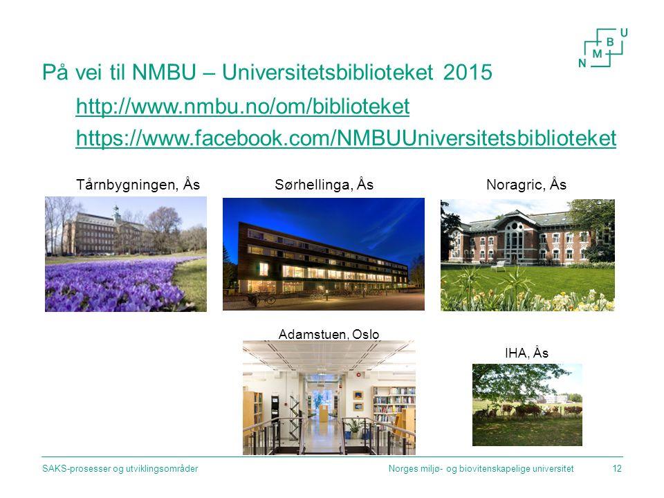 På vei til NMBU – Universitetsbiblioteket 2015 http://www.nmbu.no/om/biblioteket https://www.facebook.com/NMBUUniversitetsbiblioteket Tårnbygningen, Å