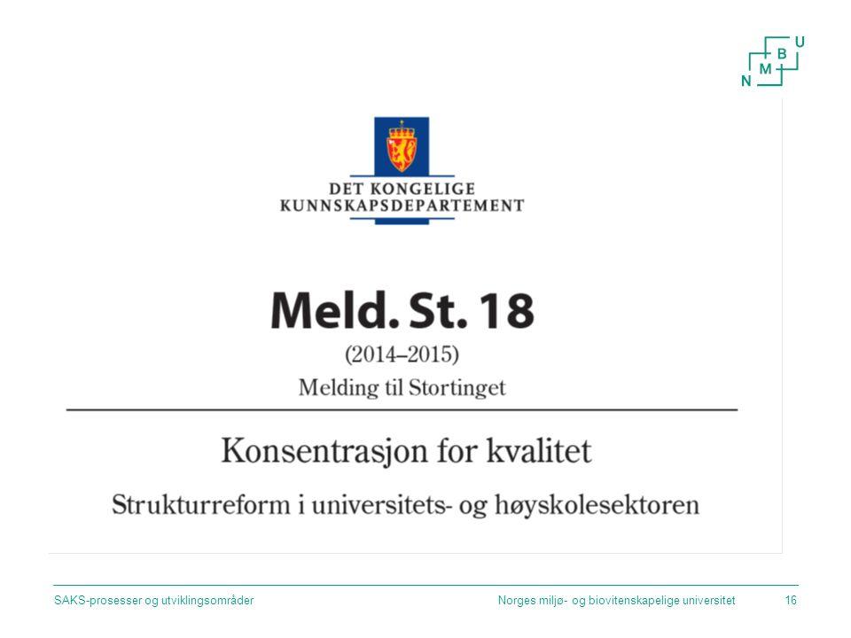 Norges miljø- og biovitenskapelige universitetSAKS-prosesser og utviklingsområder16