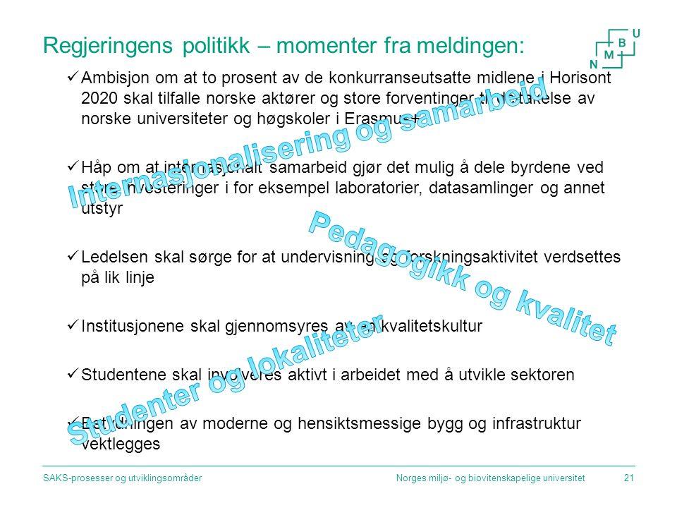 Regjeringens politikk – momenter fra meldingen: Ambisjon om at to prosent av de konkurranseutsatte midlene i Horisont 2020 skal tilfalle norske aktøre