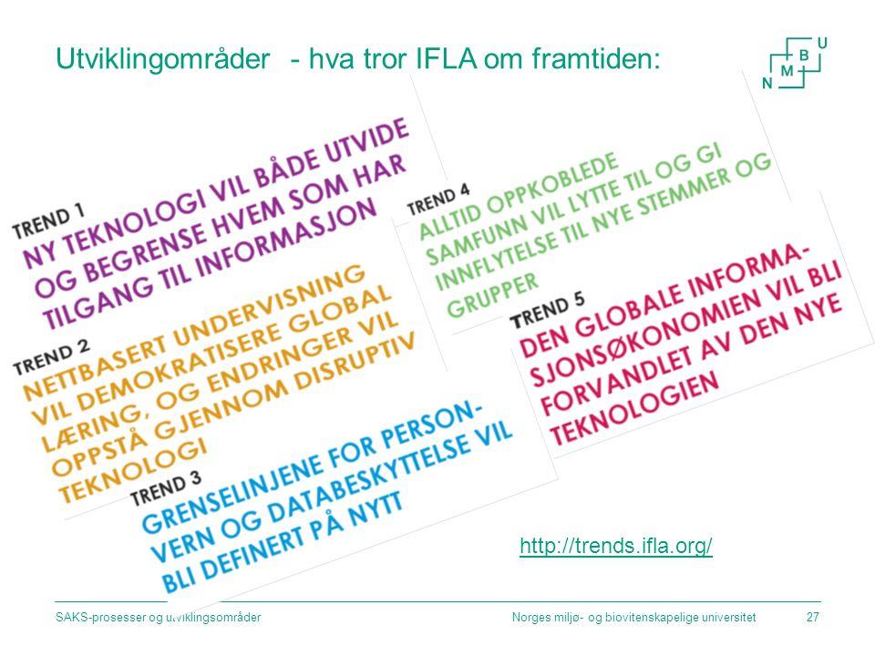Utviklingområder - hva tror IFLA om framtiden: Norges miljø- og biovitenskapelige universitetSAKS-prosesser og utviklingsområder27 http://trends.ifla.