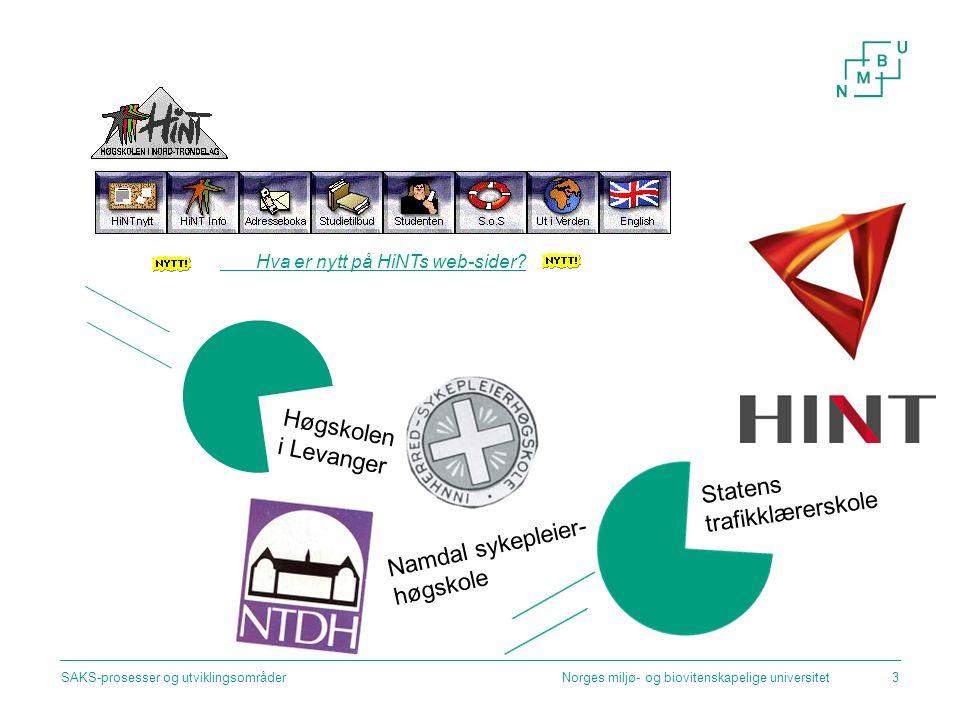 Norges miljø- og biovitenskapelige universitetSAKS-prosesser og utviklingsområder3 Hva er nytt på HiNTs web-sider? Statens trafikklærerskole Høgskolen