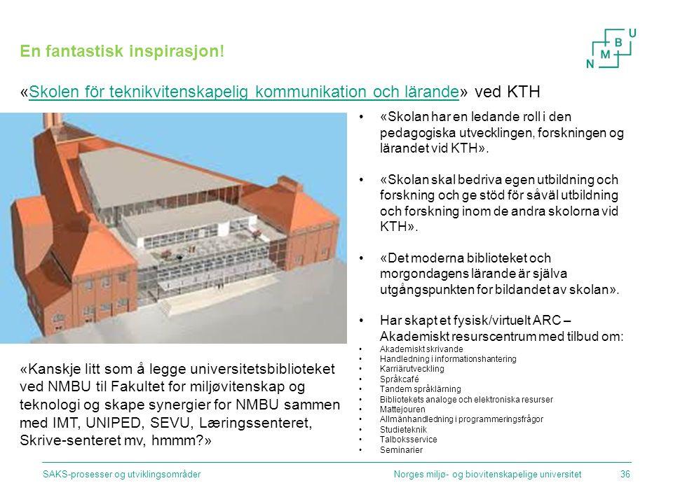 Norges miljø- og biovitenskapelige universitetSAKS-prosesser og utviklingsområder36 En fantastisk inspirasjon! «Skolen för teknikvitenskapelig kommuni