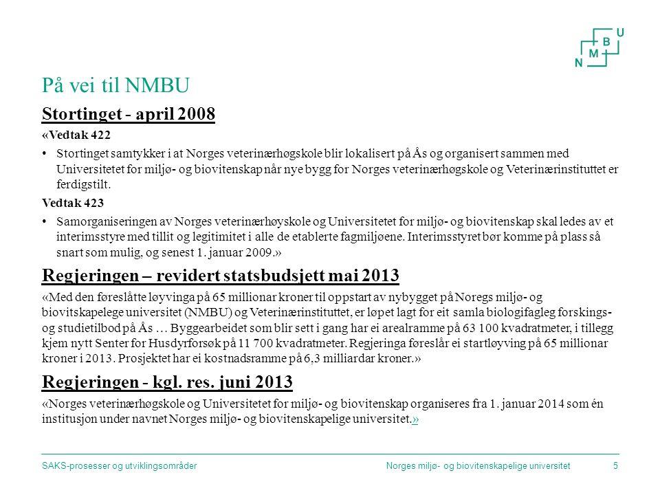 På vei til NMBU Stortinget - april 2008 «Vedtak 422 Stortinget samtykker i at Norges veterinærhøgskole blir lokalisert på Ås og organisert sammen med