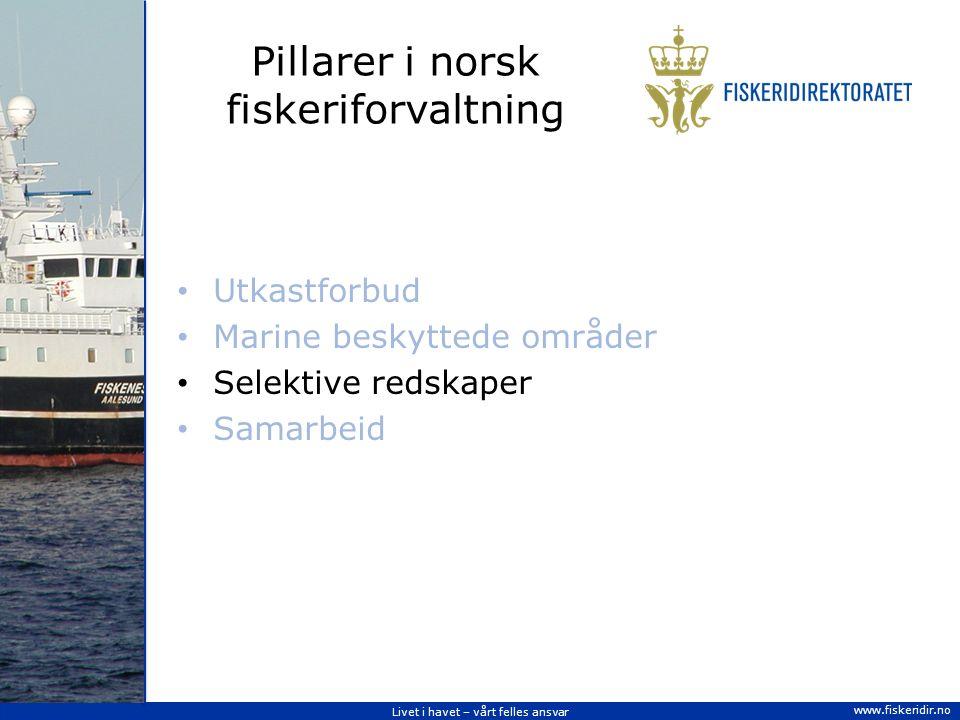 Livet i havet – vårt felles ansvar www.fiskeridir.no Pillarer i norsk fiskeriforvaltning Utkastforbud Marine beskyttede områder Selektive redskaper Samarbeid