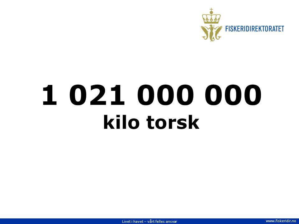 Livet i havet – vårt felles ansvar www.fiskeridir.no 1 021 000 000 kilo torsk