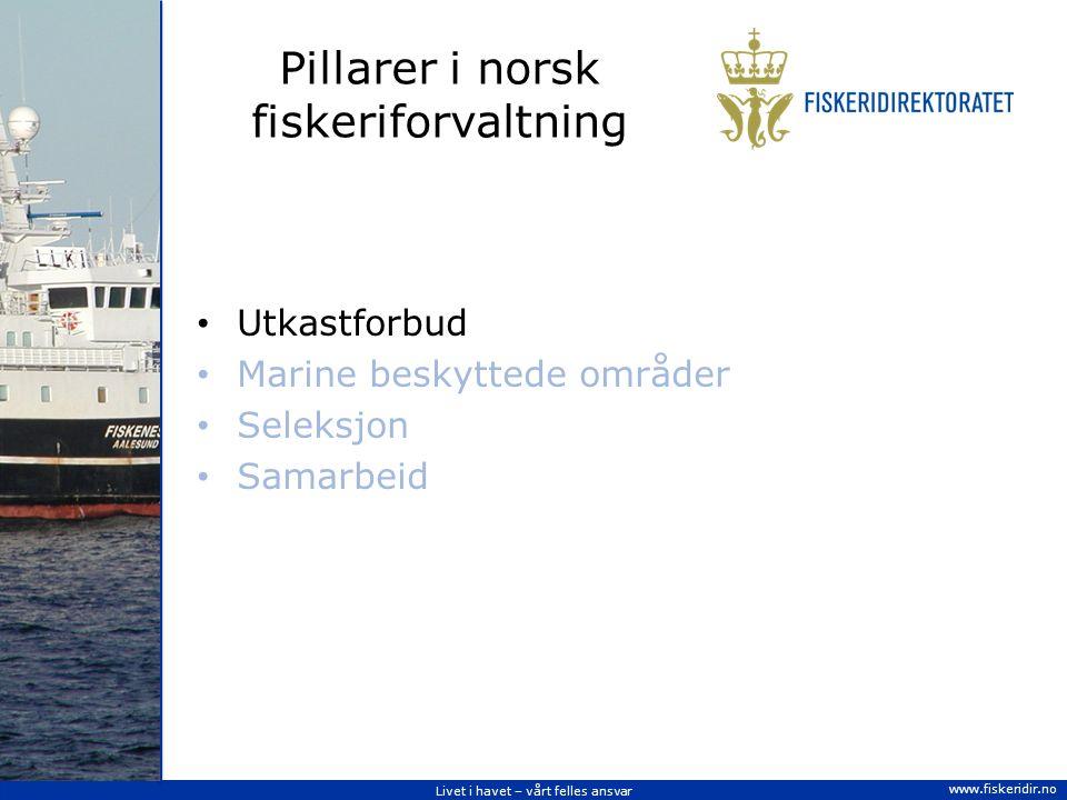 Livet i havet – vårt felles ansvar www.fiskeridir.no Pillarer i norsk fiskeriforvaltning Utkastforbud Marine beskyttede områder Seleksjon Samarbeid