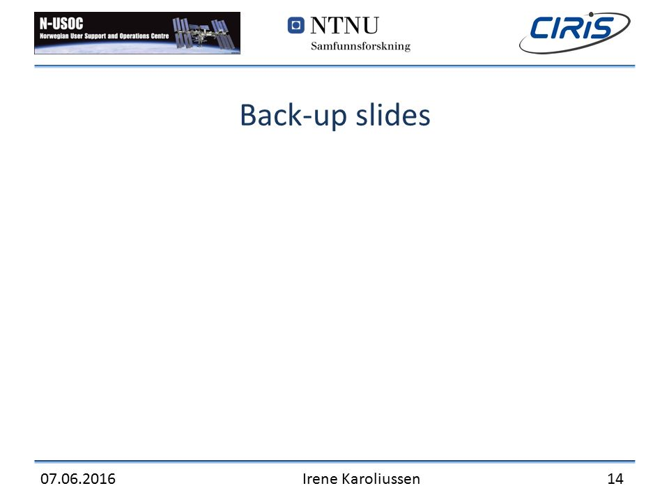 Back-up slides 07.06.2016Irene Karoliussen 14