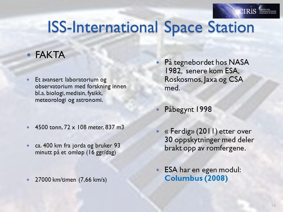 ISS-International Space Station FAKTA Et avansert laboratorium og observatorium med forskning innen bl.a.