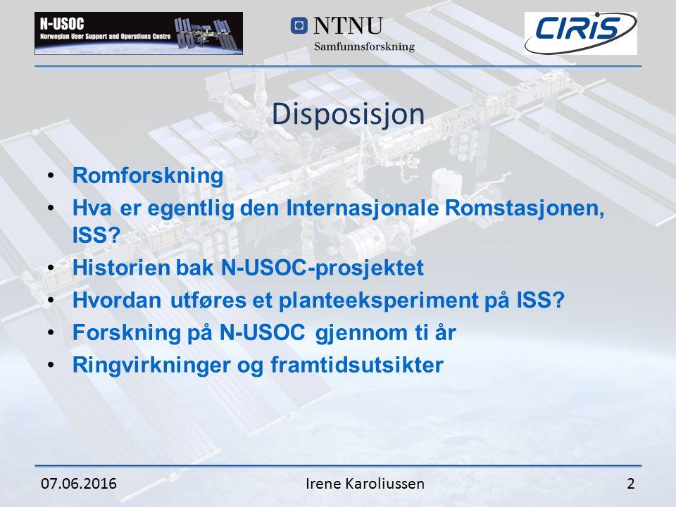 Disposisjon Romforskning Hva er egentlig den Internasjonale Romstasjonen, ISS.