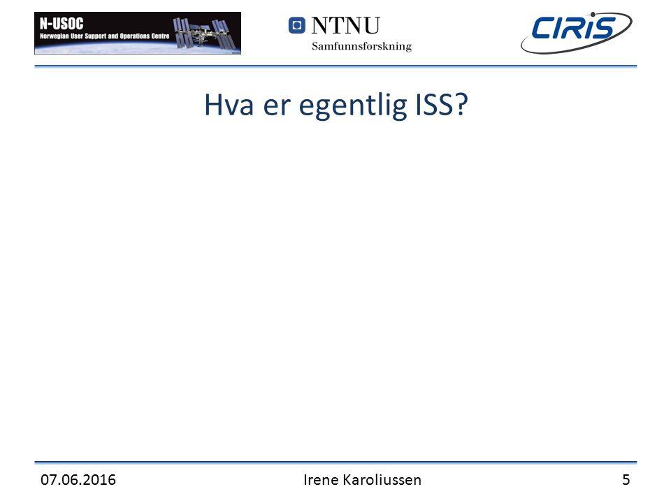 Hva er egentlig ISS? 07.06.2016Irene Karoliussen5