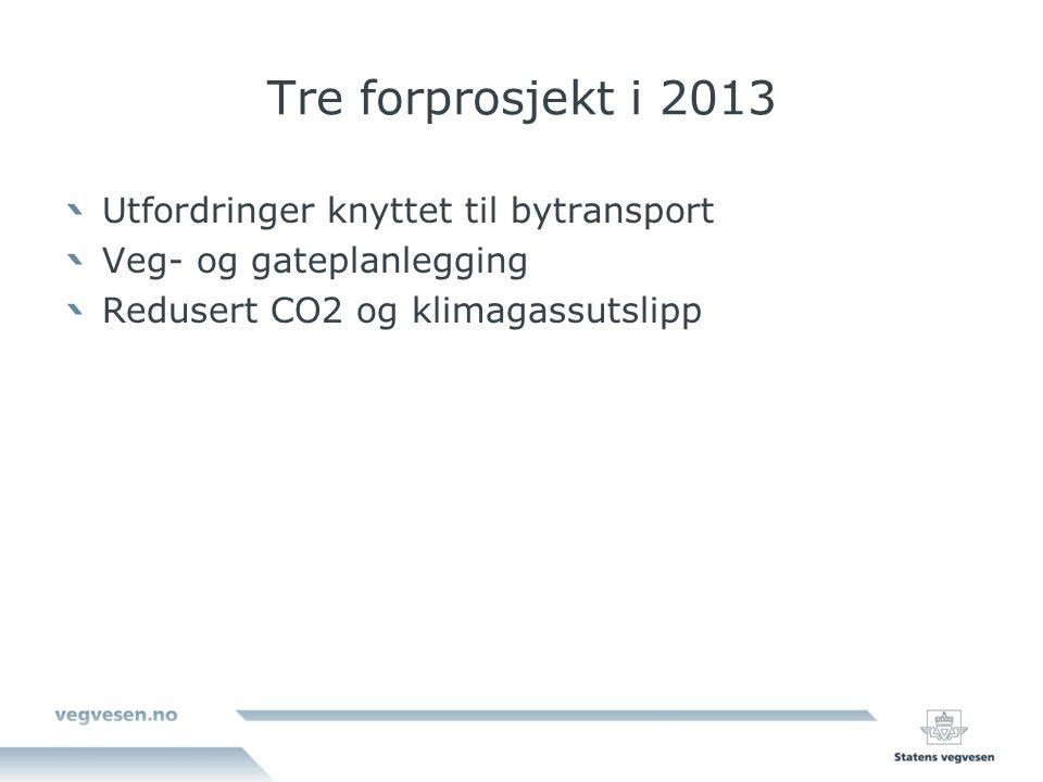 Tre forprosjekt i 2013 Utfordringer knyttet til bytransport Veg- og gateplanlegging Redusert CO2 og klimagassutslipp