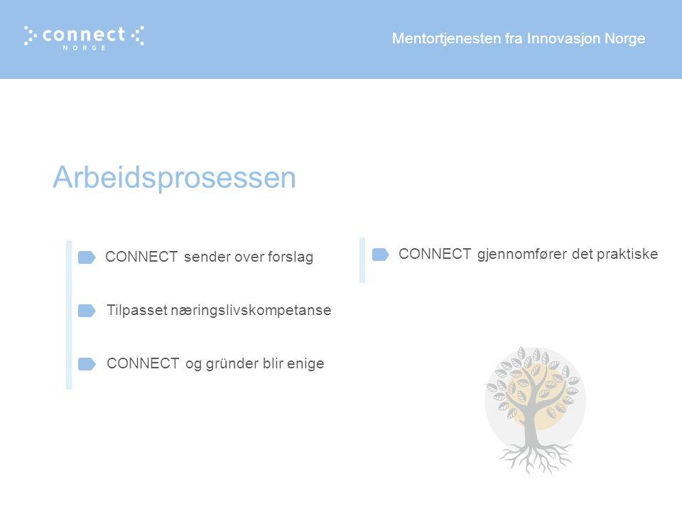Mentortjenesten fra Innovasjon Norge Arbeidsprosessen CONNECT sender over forslag Tilpasset næringslivskompetanse CONNECT og gründer blir enige CONNECT gjennomfører det praktiske