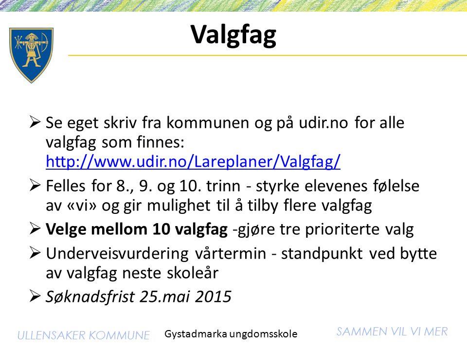 SAMMEN VIL VI MER ULLENSAKER KOMMUNE Valgfag  Se eget skriv fra kommunen og på udir.no for alle valgfag som finnes: http://www.udir.no/Lareplaner/Valgfag/ http://www.udir.no/Lareplaner/Valgfag/  Felles for 8., 9.