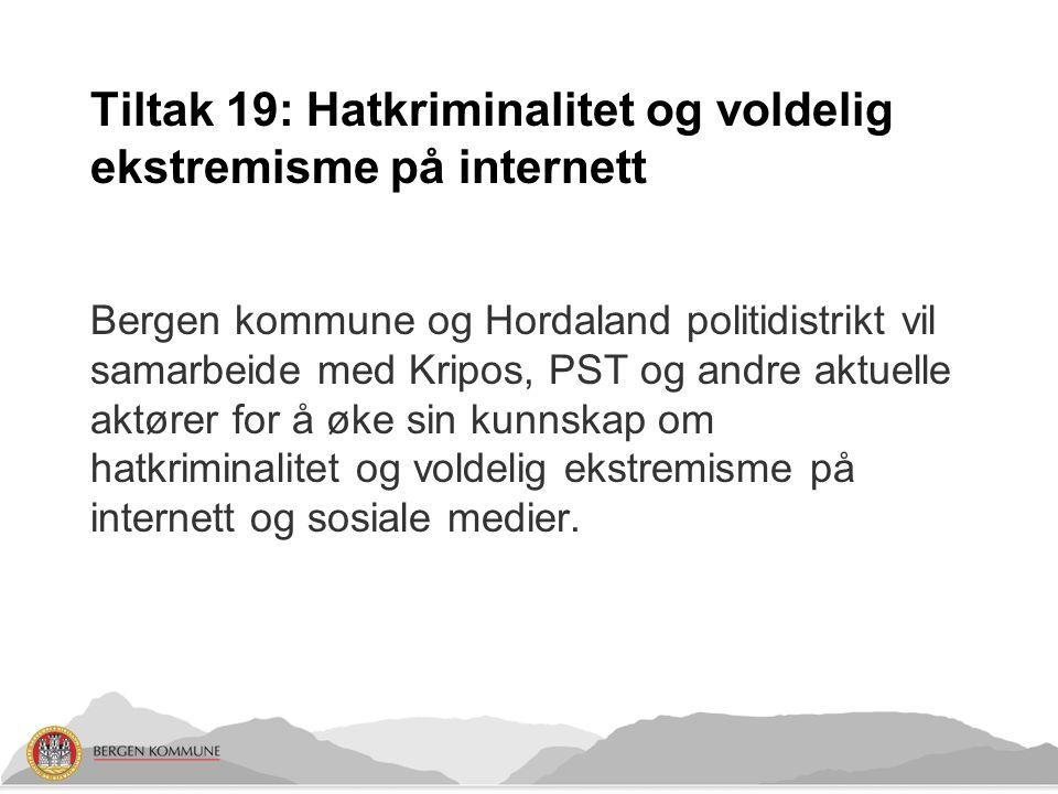 Tiltak 19: Hatkriminalitet og voldelig ekstremisme på internett Bergen kommune og Hordaland politidistrikt vil samarbeide med Kripos, PST og andre aktuelle aktører for å øke sin kunnskap om hatkriminalitet og voldelig ekstremisme på internett og sosiale medier.