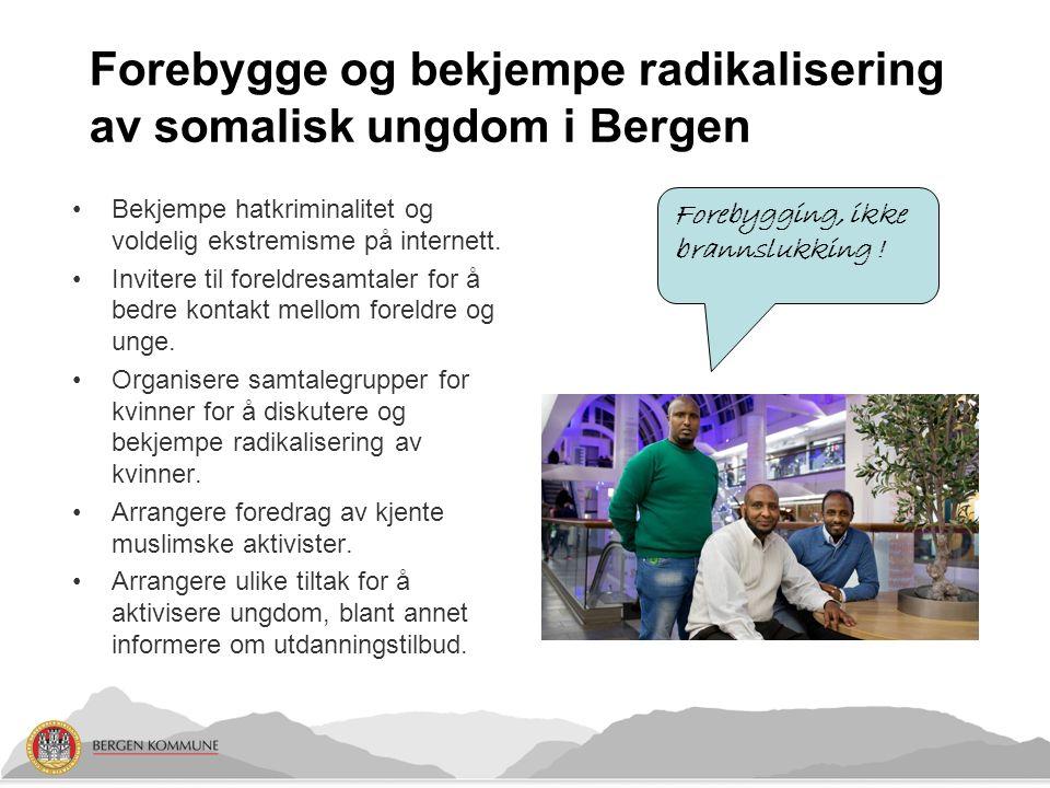 Forebygge og bekjempe radikalisering av somalisk ungdom i Bergen Bekjempe hatkriminalitet og voldelig ekstremisme på internett.
