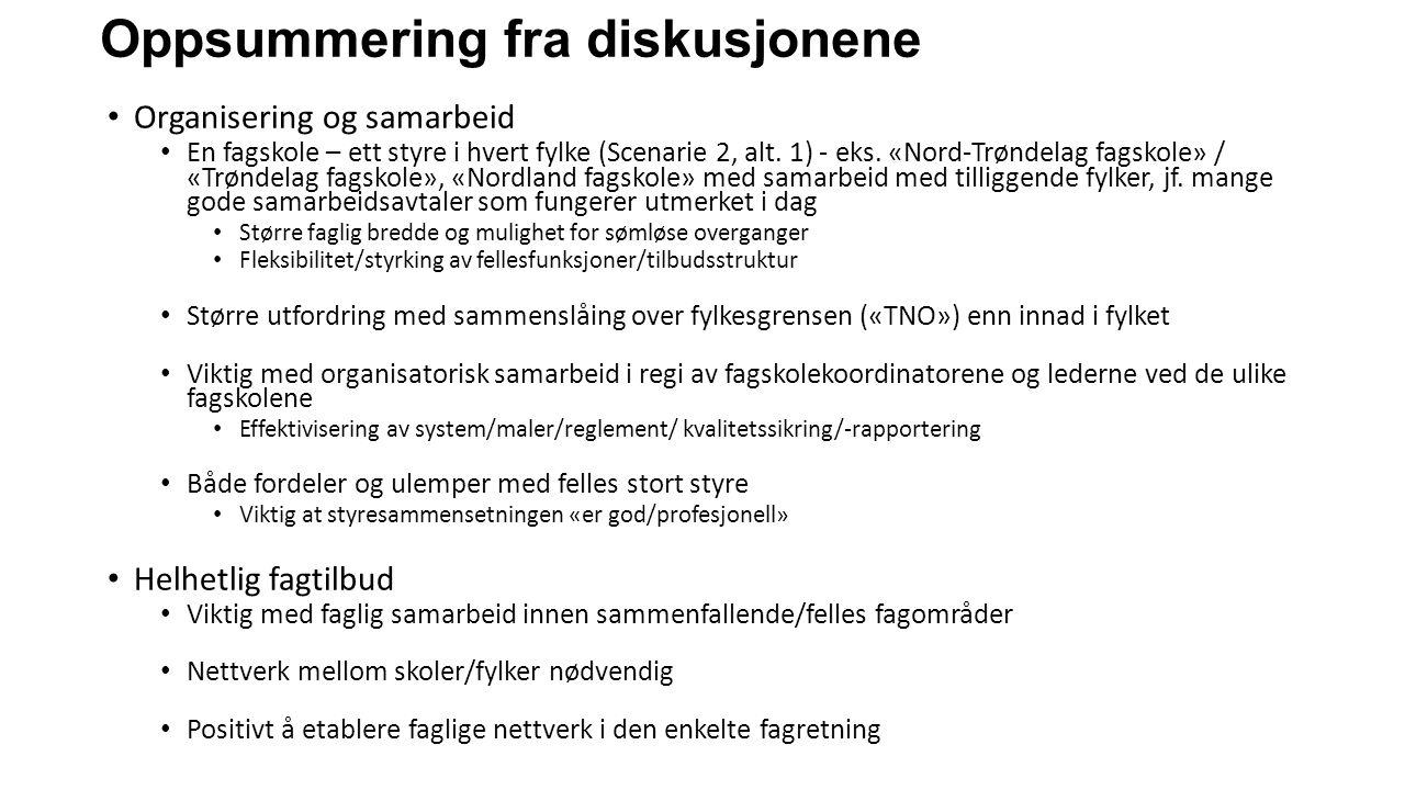 Oppsummering fra diskusjonene Organisering og samarbeid En fagskole – ett styre i hvert fylke (Scenarie 2, alt. 1) - eks. «Nord-Trøndelag fagskole» /