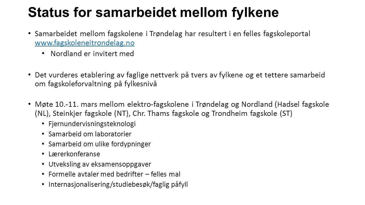 Status for samarbeidet mellom fylkene Samarbeidet mellom fagskolene i Trøndelag har resultert i en felles fagskoleportal www.fagskoleneitrondelag.no w