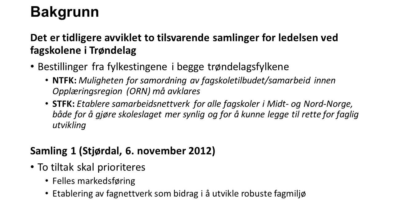 Bakgrunn Det er tidligere avviklet to tilsvarende samlinger for ledelsen ved fagskolene i Trøndelag Bestillinger fra fylkestingene i begge trøndelagsf