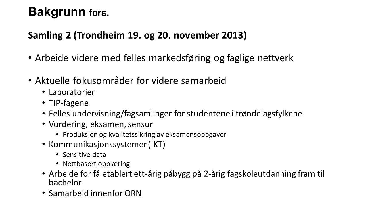 Bakgrunn fors. Samling 2 (Trondheim 19. og 20. november 2013) Arbeide videre med felles markedsføring og faglige nettverk Aktuelle fokusområder for vi