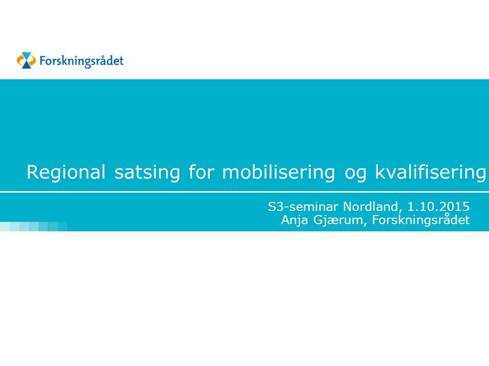 Regional satsing for mobilisering og kvalifisering S3-seminar Nordland, 1.10.2015 Anja Gjærum, Forskningsrådet