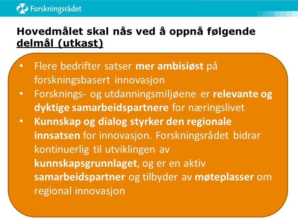 Hovedmålet skal nås ved å oppnå følgende delmål (utkast) Flere bedrifter satser mer ambisiøst på forskningsbasert innovasjon Forsknings- og utdanningsmiljøene er relevante og dyktige samarbeidspartnere for næringslivet Kunnskap og dialog styrker den regionale innsatsen for innovasjon.