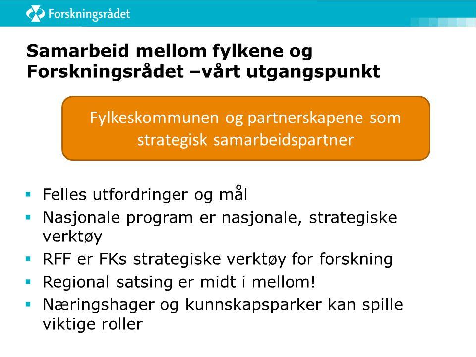 Samarbeid mellom fylkene og Forskningsrådet –vårt utgangspunkt  Felles utfordringer og mål  Nasjonale program er nasjonale, strategiske verktøy  RFF er FKs strategiske verktøy for forskning  Regional satsing er midt i mellom.