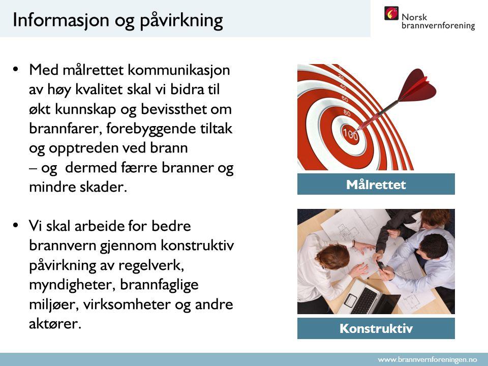 www.brannvernforeningen.no Informasjon og påvirkning Med målrettet kommunikasjon av høy kvalitet skal vi bidra til økt kunnskap og bevissthet om brannfarer, forebyggende tiltak og opptreden ved brann – og dermed færre branner og mindre skader.