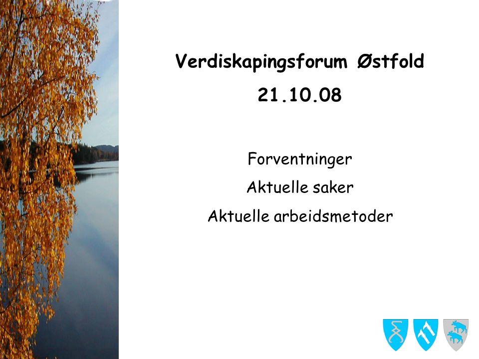 Verdiskapingsforum Østfold 21.10.08 Forventninger Aktuelle saker Aktuelle arbeidsmetoder