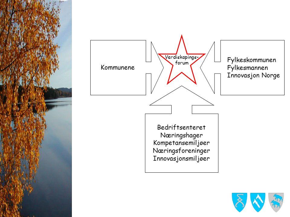 Bedriftsenteret Næringshager Kompetansemiljøer Næringsforeninger Innovasjonsmiljøer Fylkeskommunen Fylkesmannen Innovasjon Norge Kommunene Verdiskapings- forum
