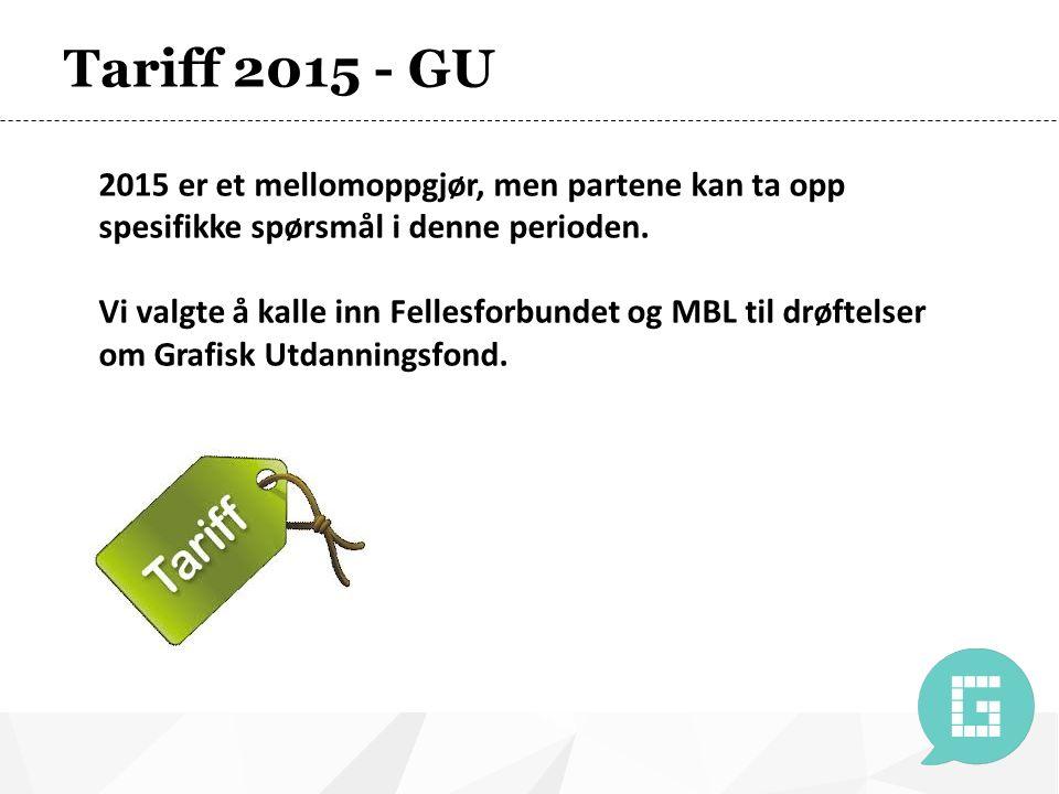 Tariff 2015 - GU 2015 er et mellomoppgjør, men partene kan ta opp spesifikke spørsmål i denne perioden.